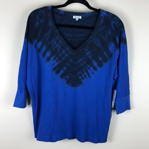 NWT Splendid tie dye thermal 3/4 sleeve top blue S
